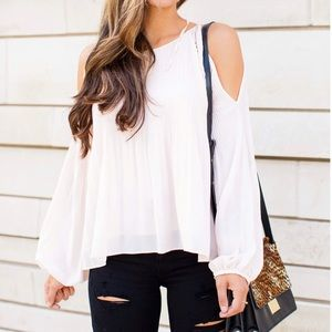Pink pleated cold shoulder blouse